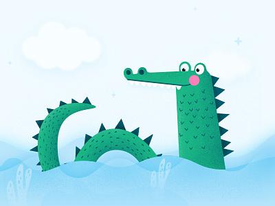 Crocodile illustration green blue book children kids crocodile illustration