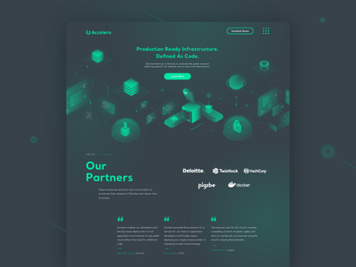 Accelero - web green dark dark theme space cloud illustration isometric ui ux devops