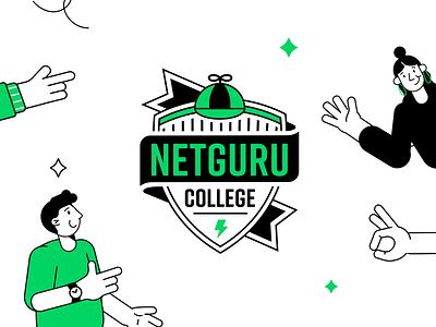 Netguru College Logo people college shield logo shield logotype logo outline character design vector illustration geometric branding