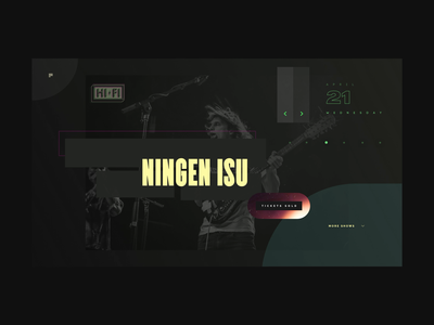 Website Design for Music Venue psychedelic japanese experimental dark ui landing page animated website musician event concert venue gig sound indie rap rock scifi music typography