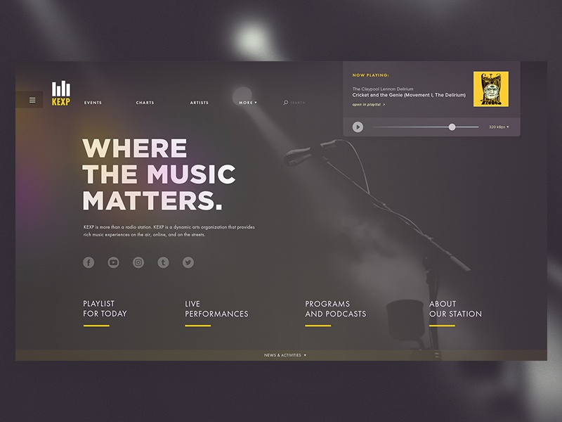 KEXP: Website Redesign Concept video streaming stream musician live video blog radio kexp ui ux playlist performance podcast broadcast rock music