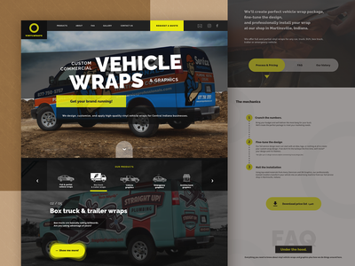 Website for Vinyl Car Wraps Company presentation landing page stickers cars automobile decals box truck van pickup truck truck vehicle graphics vehicle wrap vehicle car