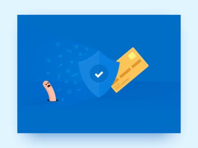 Verification shield worm verification verify id jumio card payment illustration