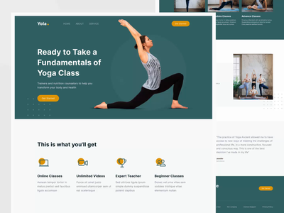 Yoga Landing Page home page principle ui design landing page design clean ui animation web design sport yoga