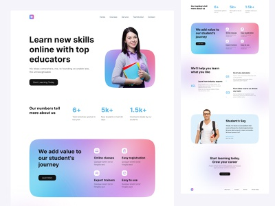 Online Learning Landing Page header clean web site ui design gradient web design landing page schools aducation courses learning