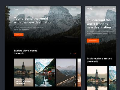Travel Landing Page home page minimal ui design clean traveling dark mode holiday tour destination web design website landing page travel