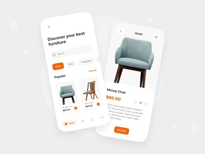 Furniture App ui design minimal design online shop ecommerce clean ui mobile ui chair app chair furniture design furniture app app furniture