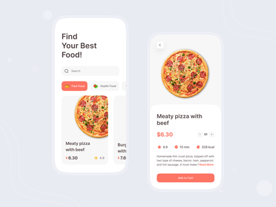 Food Mobile App clean design app mobile food app fast food pizza ui mobile ios app design foodie