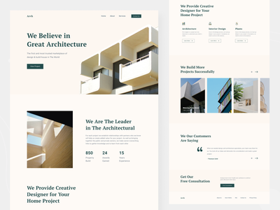 Architecture Landing Page design home page architect property real estate clean design ux ui website web design landing page studio home interior architecture