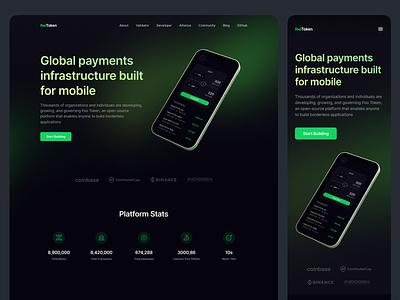 FooToken - Cryptocurrency Landing Page crypto ux ui blockchain payment website landing page design web dark mode clean uniswap market swap token crypto exchange cryptocurrency
