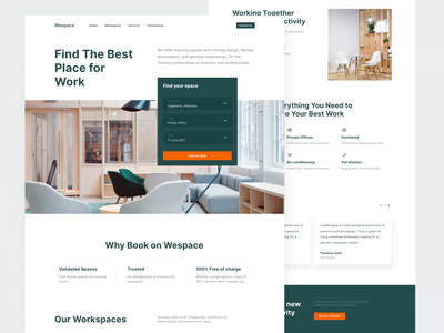 Wespace - Coworking Landing Page animation design ux ui work interior website clean home page coworking space web design working space coworking landing page