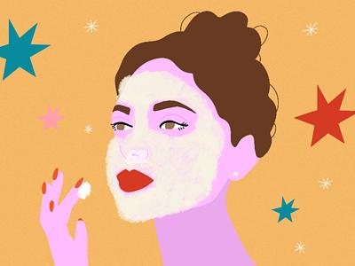 Skincare skincare beauty girl drawing social media illustration