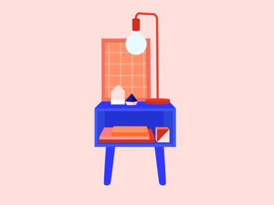 Night Table decor books furniture illustration flat illustration