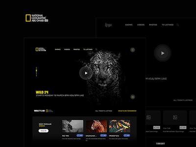 Re design the web site National geographic abu dhabi home dark design photoshop site web ui ux