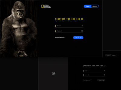 This is a site National Geographic. Login&Register dark design photoshop site ui web ux