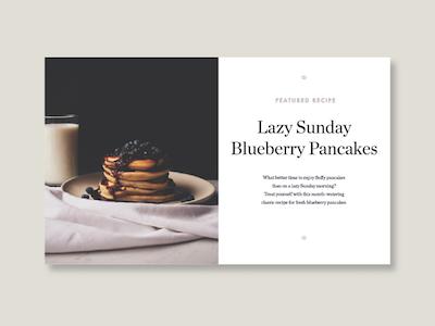 Blueberry Pancakes dailyui recipe food design web typography type ui lifestyle minimal