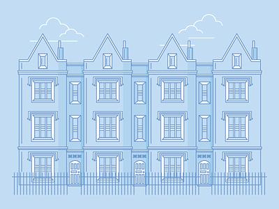 London Houses uk london house architecture graphic design blue illustration flat