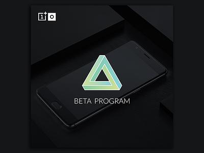 OnePlus Beta Program gradient triangle geometric smartphone tech vector illustrator social media graphic design logo branding oneplus