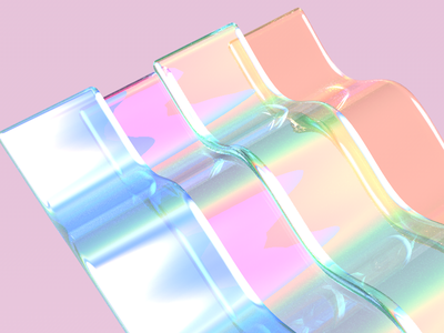Rainbow Glass design iridescent abstract digital 3d glass rainbow c4d cinema4d