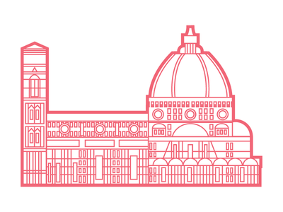 Florence Cathedral city landmark  landscape firenze florence cathedral vector italy illustrator illustration design graphic flat architecture
