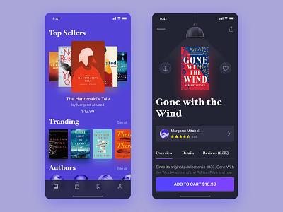 Book Store Project - App Design moblie application dark purple cart rating transpernt blur product shop ecommerce minimal modern cover book ios app ux ui