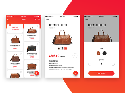 Catalog of bags ecommerce app ios catalog bags flat card red gradient color