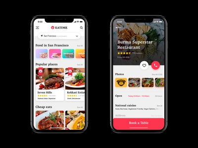 Eatime red iphonex ios app search restaurant food time eat