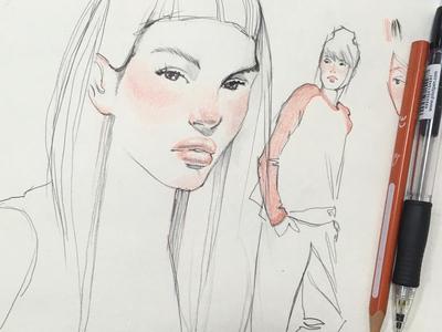 recreation sketch portrait girl illustration pen sketch