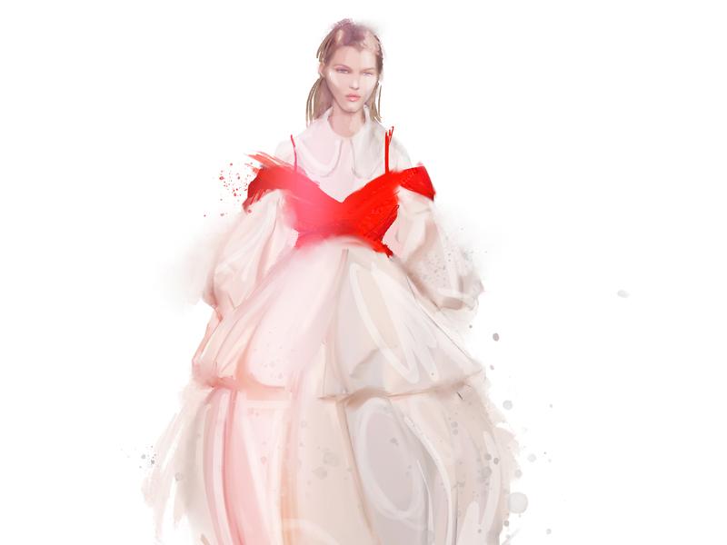 SimoneRocha fashionweek2019 fashion-illustration simonerocha sketch illustration female girl