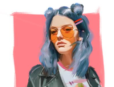 sunglasses girl portrait 80s 90s orange glasses blue hair characters fashion-illustration print fashion sketch illustration girl female portrait