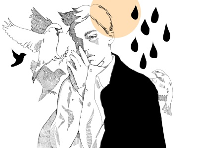 Inktober_Misfit design illustration line art lineart with birds misfit male boy characters sketch fashion-illustration portrait
