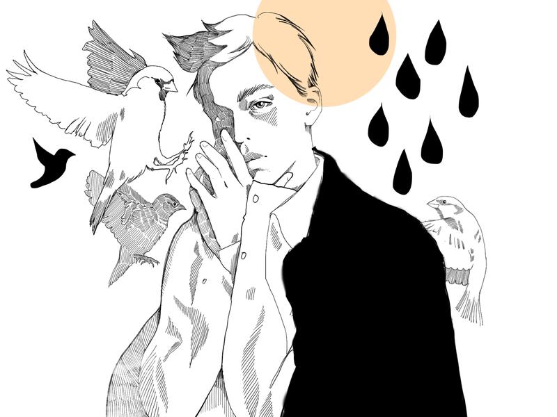 Inktober_Misfit design illustration line art lineart with birds misfit male boy characters sketch fashion-illustration portrait