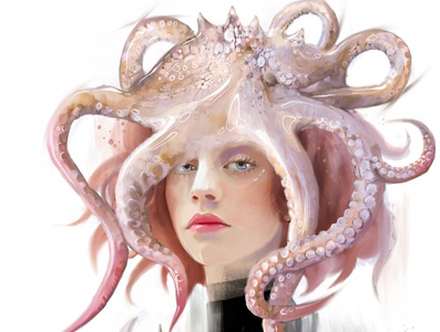Crown octopus girl crown octopus characters girl illustration female portrait