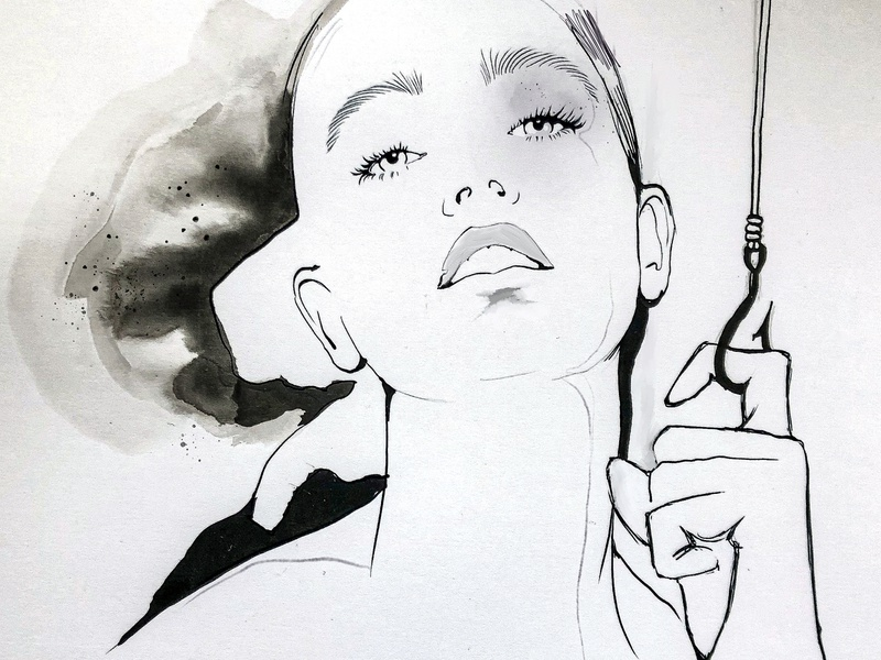 on a hook ink illustration ink characters fashion sketch girl portrait fashion-illustration illustration female