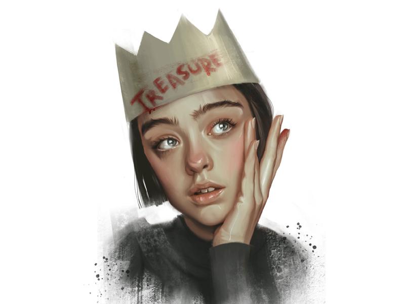 Treasure crown (evo-lutio) fashion-illustration characters sketch illustration girl female portrait
