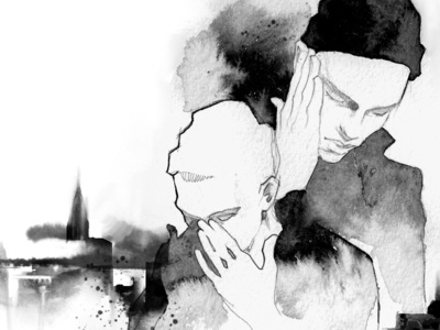 Don't deny black watercolor black and white ink illustration ink city male fashion-illustration sketch characters illustration portrait