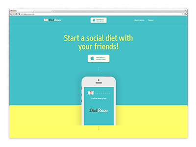 Landing Page (Diet Race App) dietrace social diet landing page pig fun friends social