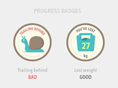 Badges (Diet Race App) dietrace social diet landing page fun friends social badges badge weight snail