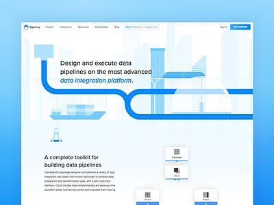 Xplenty Product Page 2x animation city product xplenty website landing page