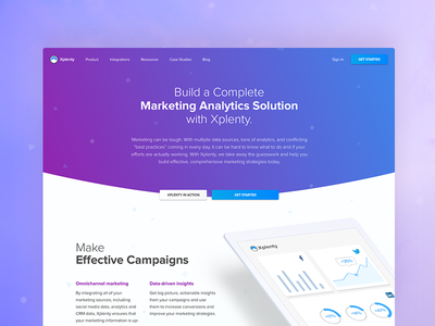 Marketing landing page analytics gradient website xplenty landing page marketing