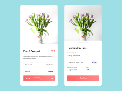 Daily UI challenge #002 — Credit Card Checkout interface order fulfilment flower ui payment dailyui dailyui 002