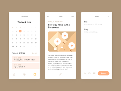 Diary UI journal diary calendar ios ui