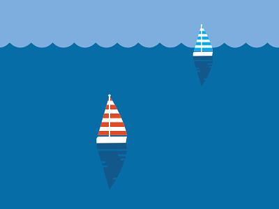 Sailboats sail water boats illustration