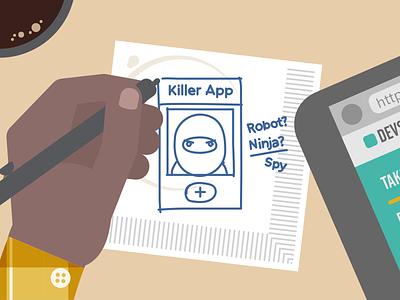 Killer App Initial Sketch illustration animation drawing flat art direction