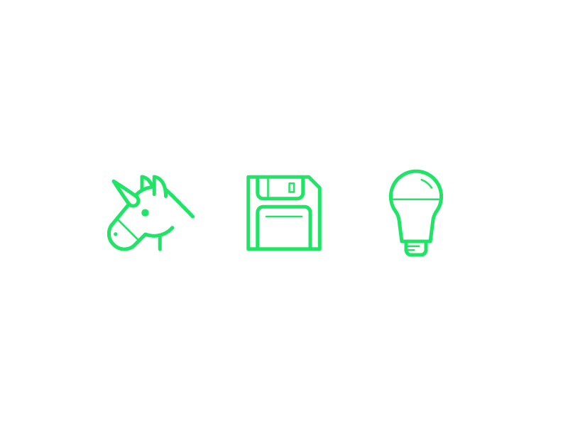 Friendly Emojis lightbulb floppy disk unicorn friendly design hour line art brand friendly friendlydc friendly design illustration icons emojis