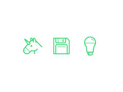 Friendly Emojis lightbulb floppy disk unicorn friendly design hour line art brand friendly friendlydc friendly design illustration icons emojis