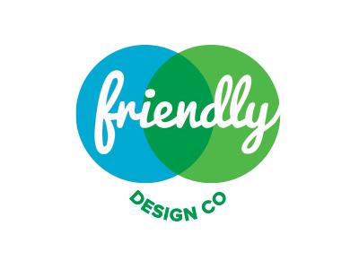 Friendly Design Co. Logo 4.2 friendly logo circle green script venn diagram smile