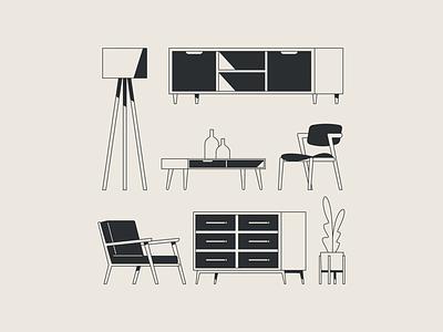 Mid Century Modern plant mad men mid century modern cabinet table chair furniture illustrator flat design illustration