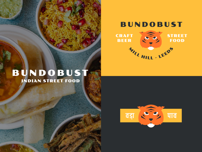 Bundobust badge lockup restaurant tiger icon typography logo branding flat design vector design flat illustration