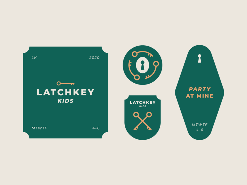 Latchkey Kids key tag keychain motel hotel secret society key lock logo lockup badge vector branding design flat
